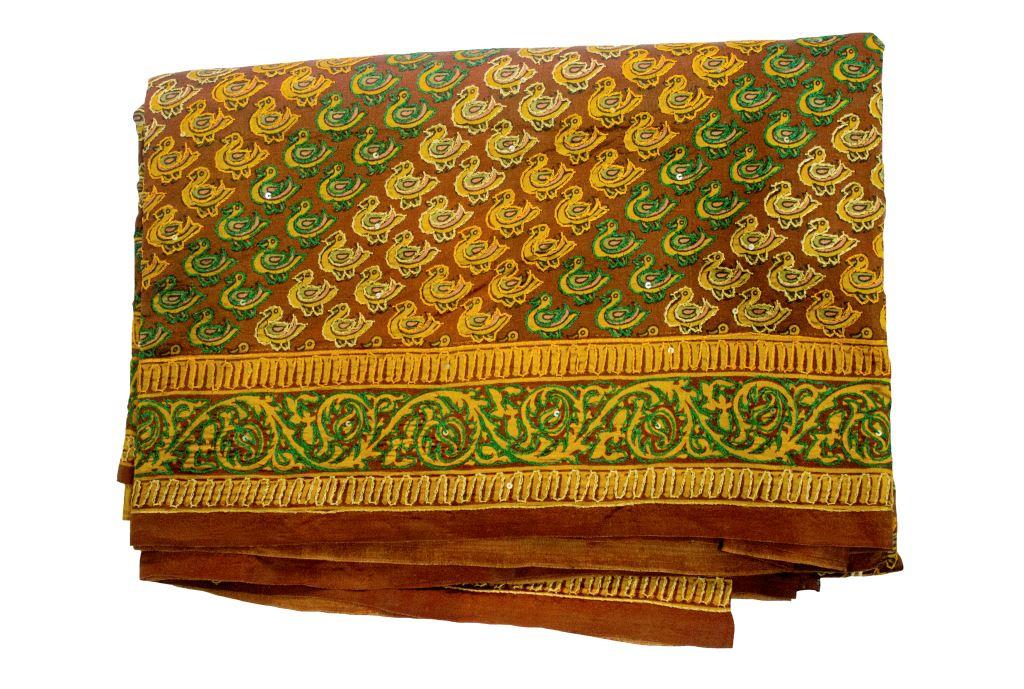 Khadi Silk Saree - Brown & Yellow - Kshetriya Shri Gandhi Ashram